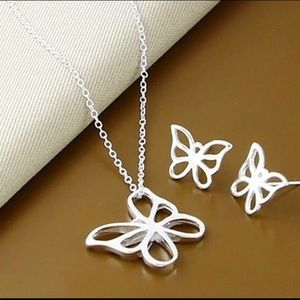 BRAND NEW STERLING SILVER EARRING/NECKLACE SET
